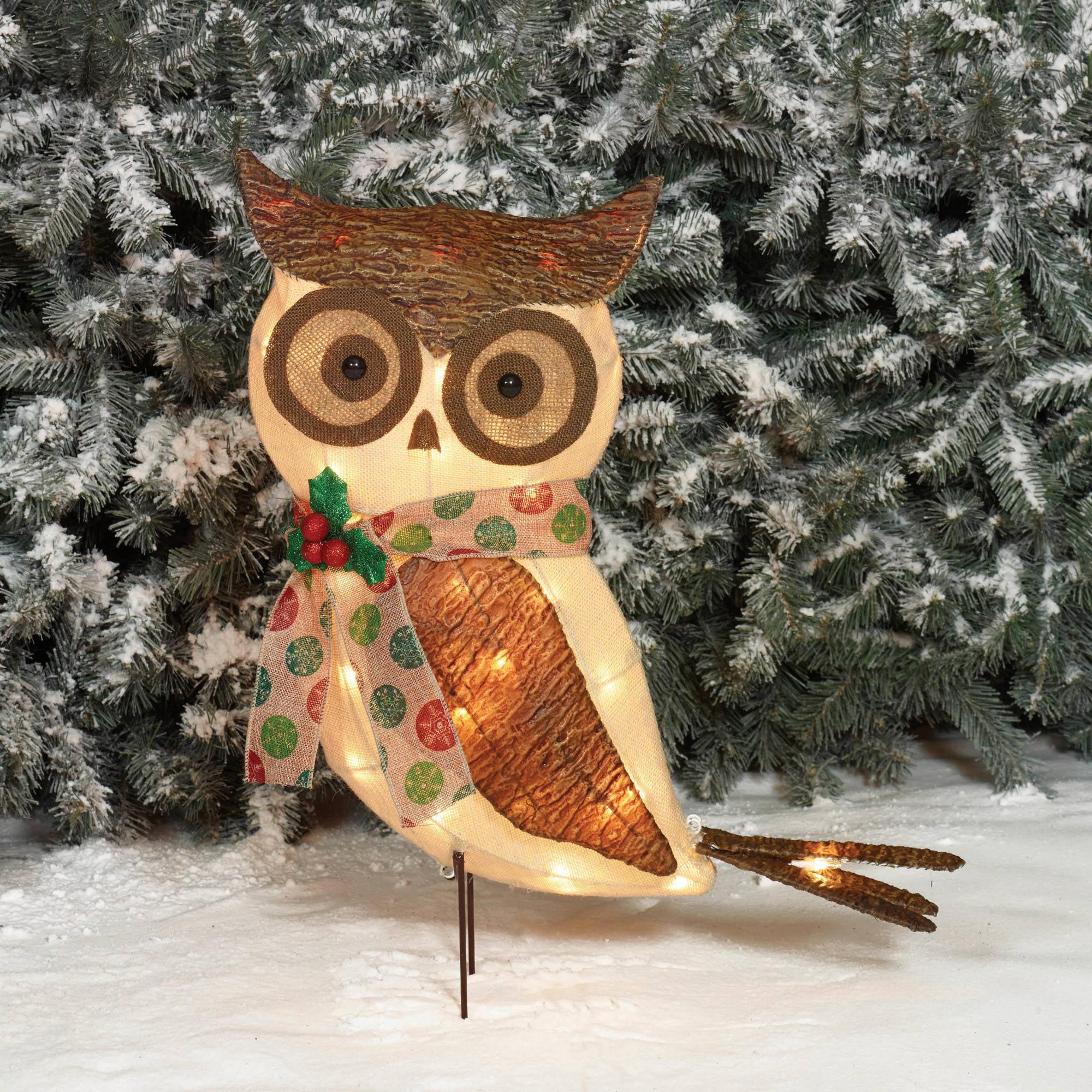 Christmas Owl.Holiday Time Christmas Decor 24 Sparkling Burlap With Bark Owl Sculpture