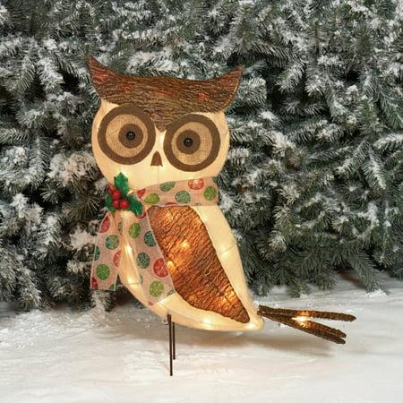 "Holiday Time Christmas Decor 24"" Sparkling Burlap with Bark Owl Sculpture"