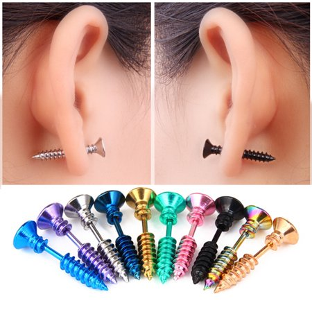 Unisex Stainless Steel Piercing Nail Screw Stud Earrings Punk Helix Ear Piercings Fashion Jewelry Green