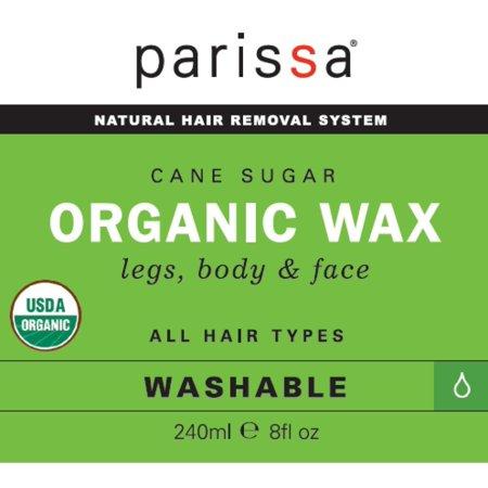 Organic Sugar Wax, Waxing Kit made of Organic Sugar Wax for Hair Removal  Body Waxing, 240ml (8oz), 30 strips, 3 spatulas, Washable Formula Organic