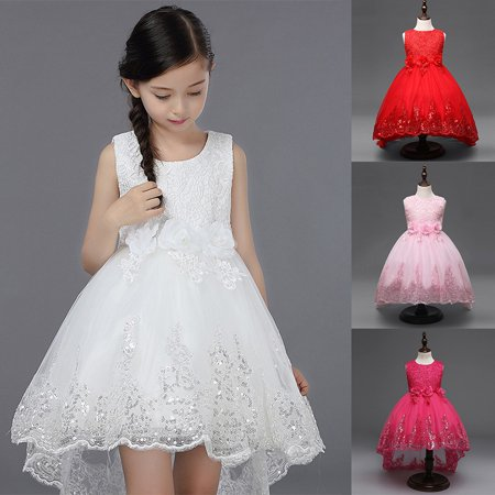 Kacakid Flower Baby Girl Lace Wedding Party Dress Formal Ball Gown Kids Birthday Gown Pageant Dresses for $<!---->