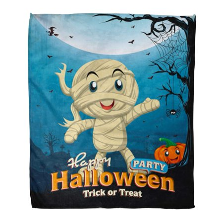 ASHLEIGH Flannel Throw Blanket Border Party Vintage Halloween Kid in Mummy Costume Spider Soft for Bed Sofa and Couch 50x60 Inches](Throw The Best Halloween Party)