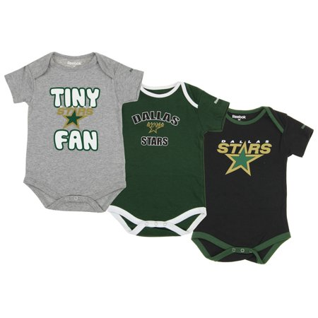 Reebok NHL Hockey Infant Dallas Stars 3 Piece Bodysuit Creeper Set, Green
