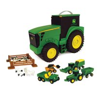 John Deere Tractor Toy Carry Case Bonus Pack With Handle, Includes 6 Toy Vehicles, 18 Pieces