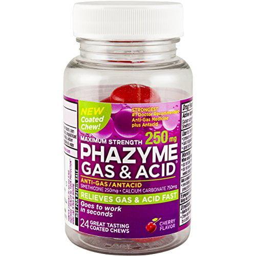 4 Pack Phazyme Gas+ Acid Maximum Strength, 250 mg, Cherry, 24 Coated Chews Each