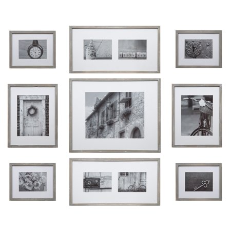 Photo Gallery Templates - Gallery Perfect 9 Piece Greywash Wood Photo Frame Wall Gallery Kit with Decorative Art Prints & Hanging Template