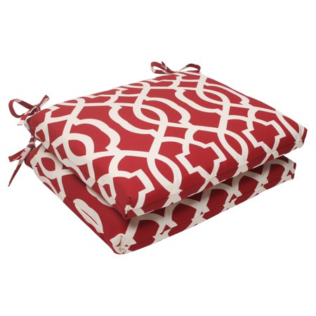 Red Cushions (Pillow Perfect Outdoor/ Indoor New Geo Red Squared Corners Seat Cushion (Set of 2))
