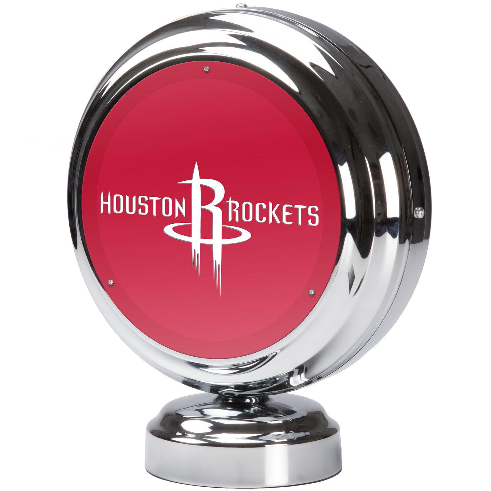 Houston Rockets NBA Chrome Retro Style Tabletop Neon Clock