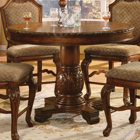 Acme Furniture Chateau De Ville Round Counter Height Pedestal Dining Table Contemporary Pedestal Dining Table