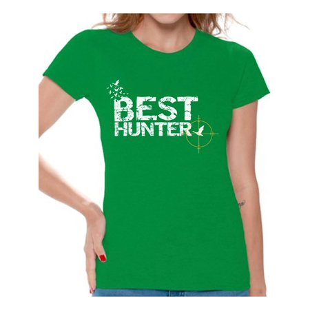 Awkward Styles Best Hunter Shirt for Women Best Hunter Ever Ladies Shirt Hunting Lovers T-Shirt for Her Hunting T Shirt for Wife Hunting Birthday Gifts for Mom Deer Hunting Fans Best Hunter