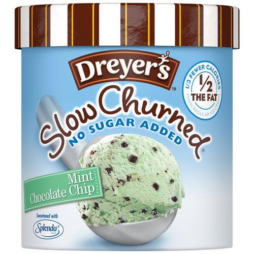 Edy's/Dreyer's Slow Churned Rich & Creamy No Sugar Added Mint Chocolate Chip Ice Cream, 1.5 qt
