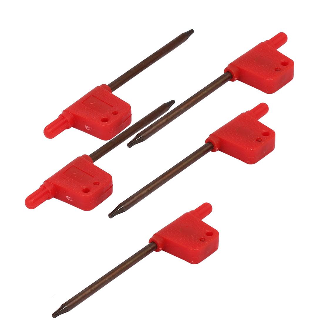 T7 S2 Plastic Nonslip Handle Flag Type Torx Wrench Spanner Repairing Tool 5pcs