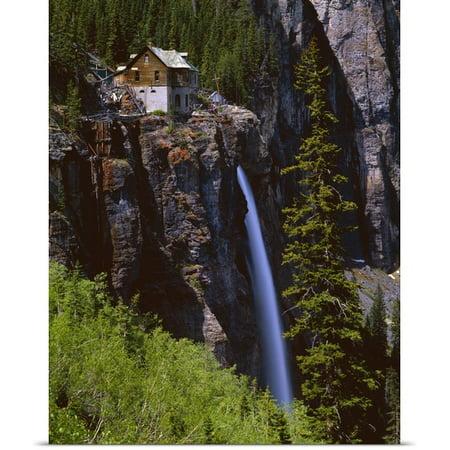 Great Big Canvas David L  Brown Poster Print Entitled Old Power Station And Bridal Veil Falls
