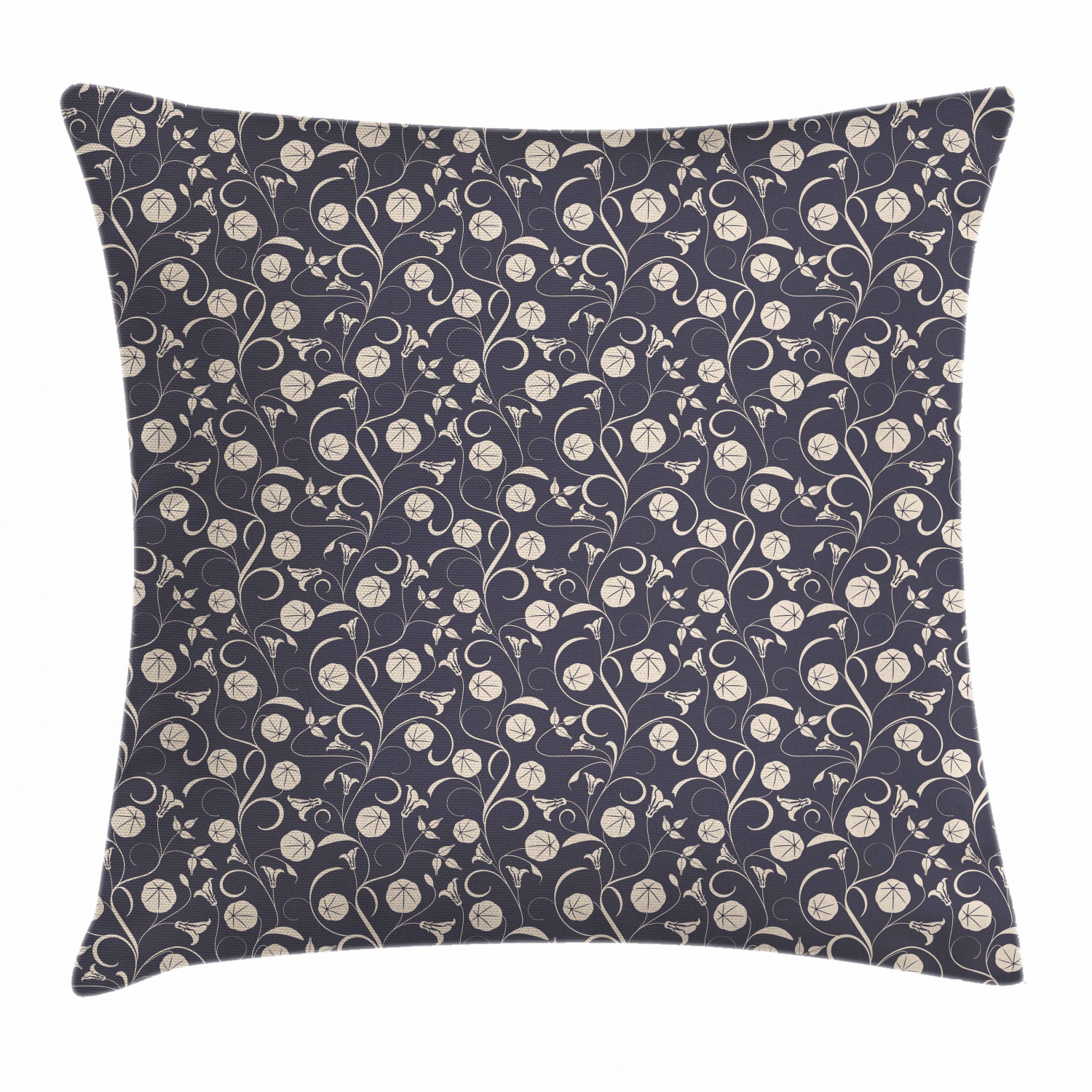 Floral Throw Pillow Cushion Cover Abstract Silhouettes Of Romantic Flowers Swirling Stems And Leaves Decorative Square Accent Pillow Case 16 X 16 Inches Dark Blue Grey And Beige By Ambesonne Walmart Com
