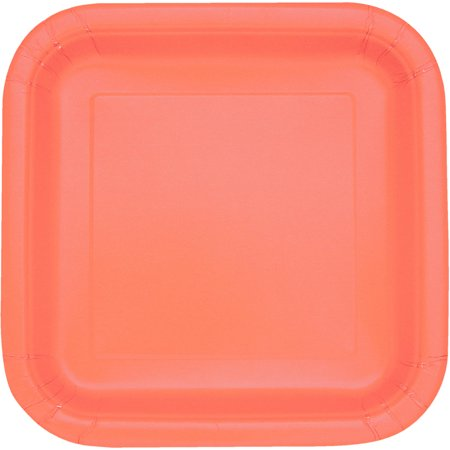 Square Paper Plates, 7 in, Coral, 16ct (Coral Plates)