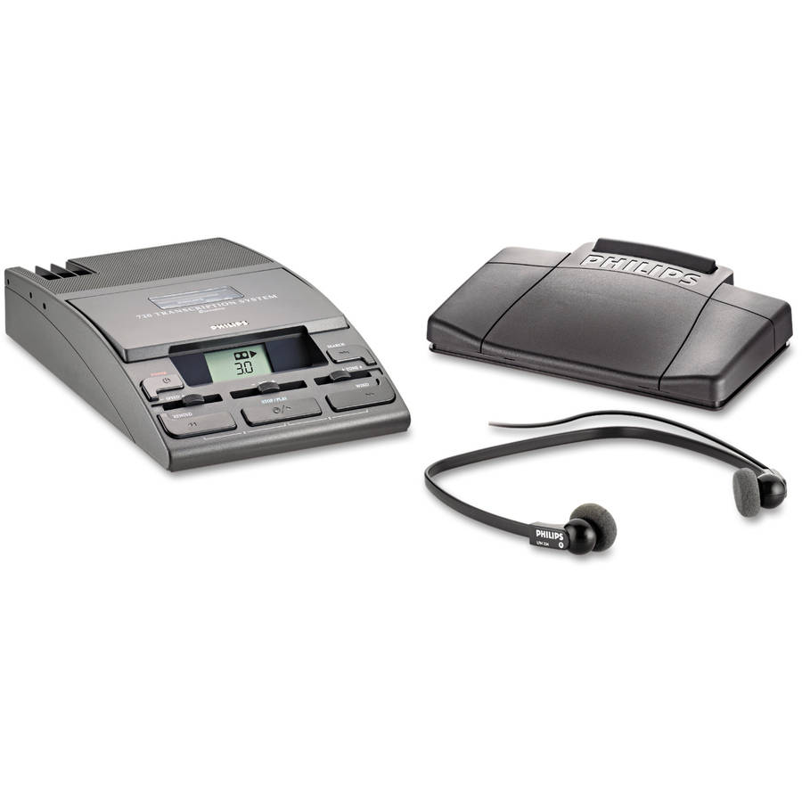 Philips 720-T Desktop Analog Mini Cassette Transcriber Dictation System with Foot Control