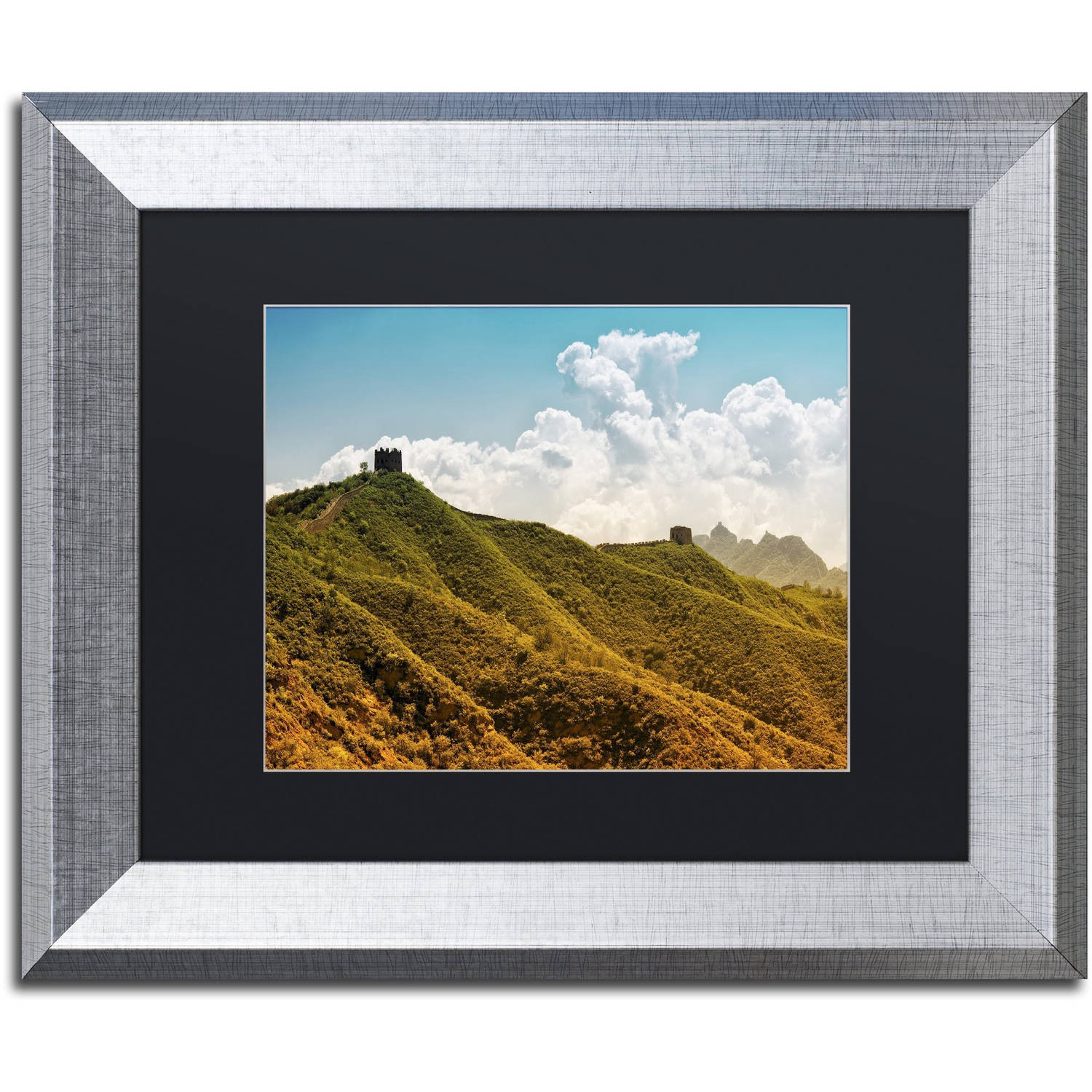 "Trademark Fine Art ""Great Wall II"" Canvas Art by Philippe Hugonnard, Black Matte, Silver Frame"