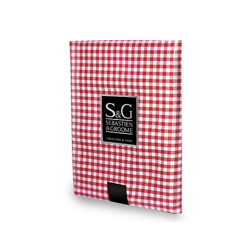 "MYLES INTERNATIONAL Mini-Gingham Check Tablecloth 60"" x 84"" (Red/White)"