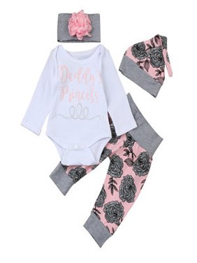 1ae8a3f965a Product Image Newborn Infant Baby Girl Letter Romper Tops+Floral Pants Hat  Outfits Clothes Set