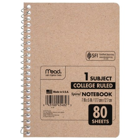 Mead Spiral Notebook, College Ruled, 80 Sheets (Cheap Spiral Notebooks)
