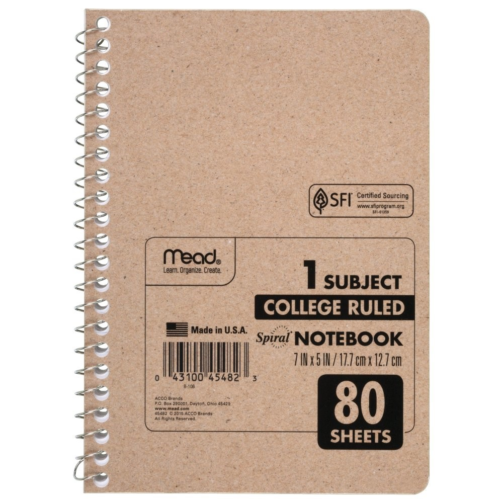 Mead Spiral Notebook, College Ruled, 80 Sheets