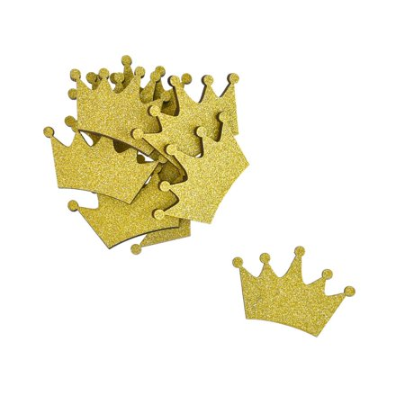 Small Glitter Wooden Crown Cut-Outs, 1-1/2-Inch, 10-Piece, Gold