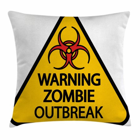Zombie Decor Throw Pillow Cushion Cover, Warning Zombie Outbreak Sign Cemetery Infection Halloween Graphic, Decorative Square Accent Pillow Case, 18 X 18 Inches, Earth Yellow Red Black, by Ambesonne](Halloween Cemetery Signs)