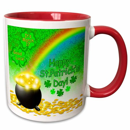 3dRose St. Patricks Pot of Gold end of Rainbow and Green Clover - Two Tone Red Mug, 11-ounce