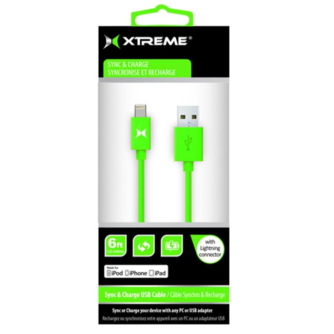 Xtreme Cables 59885 MFI Lightning Cable, 6 ft.  - Green