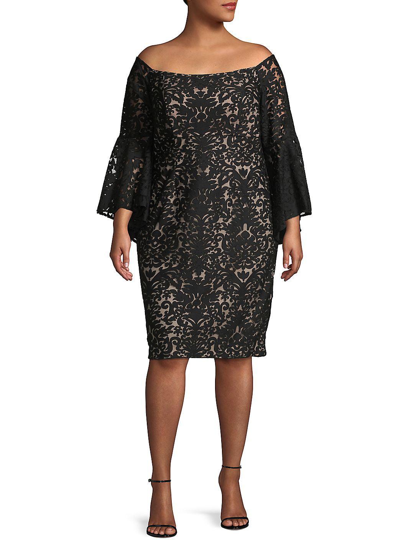 Womens Plus Lace Off The Shoulder Sheath Dress 20W
