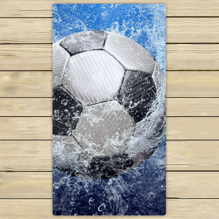 (YKCG Water Drops Soccer Ball World Cup Hand Towel Beach Towels Bath Shower Towel Bath Wrap For Home Outdoor Travel Use 30x56 inches)