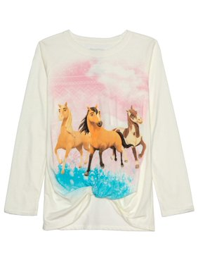 Spirit Riding Free Twist Front Long Sleeve Graphic T-Shirt (Little Girls & Big Girls)