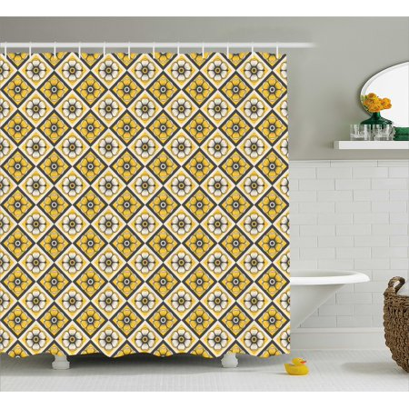 Grey And Yellow Shower Curtain  Tile Like Spring Flowers In Rectangular Shape Image  Fabric Bathroom Set With Hooks  69W X 75L Inches Long  Charcoal Grey Yellow And White  By Ambesonne