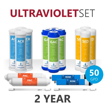 Ultraviolet Water Treatment System - Express Water – 2 Year Ultraviolet Reverse Osmosis System Replacement Filter Set – 18 Filters with UV and 50 GPD RO Membrane – 10 inch Size Water Filters (50 GPD)