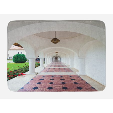 Travel Bath Mat, Dome Arched Colonnade Hallway at Sambata De Sus Monastery in Transylvania Romania, Non-Slip Plush Mat Bathroom Kitchen Laundry Room Decor, 29.5 X 17.5 Inches, White Green, Ambesonne