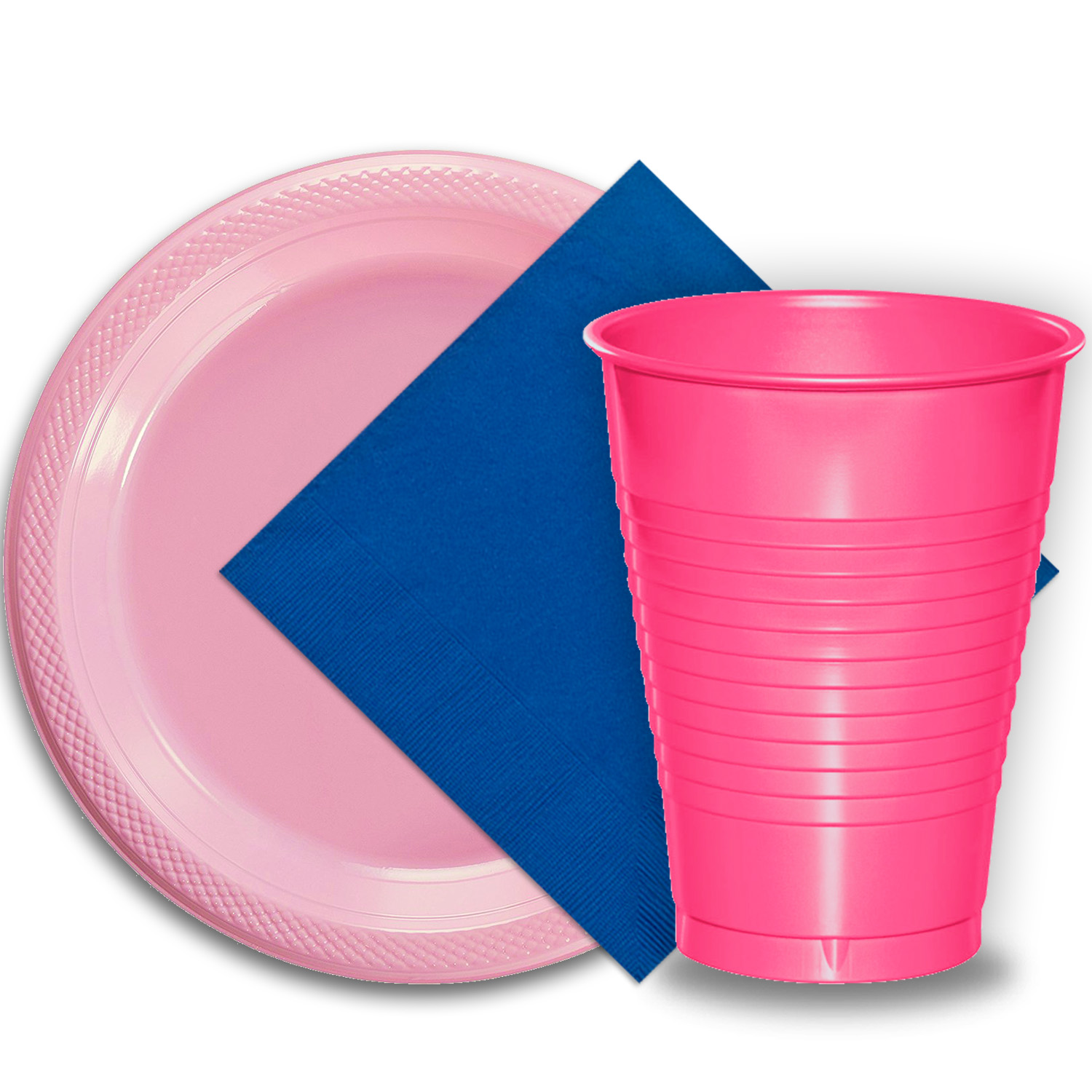 "50 Pink Plastic Plates (9""), 50 Hot Pink Plastic Cups (12 oz.), and 50 Dark Blue Paper Napkins, Dazzelling Colored Disposable Party Supplies Tableware Set for Fifty Guests."
