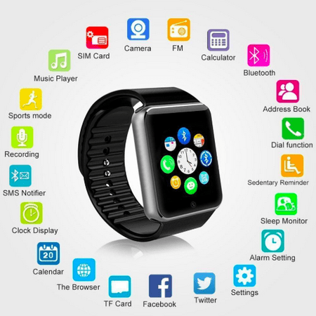 Style Asia Touch Screen Bluetooth Enabled Smart Watch, Camera, Music, Fitness Tracker and Pedometer, Black Matte Finish, Compatible to All Android and iOS Mobile Phones (PACK OF 2) ()