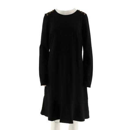 Ponte Shirt Dress - Du Jour Long Slv Ponte Knit Dress Button A295385