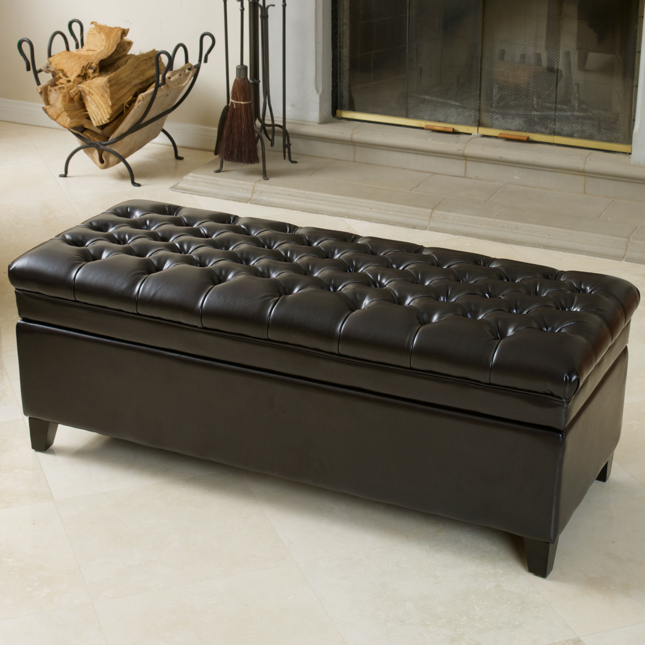 Bennette Tufted Espresso Brown Leather Storage Ottoman