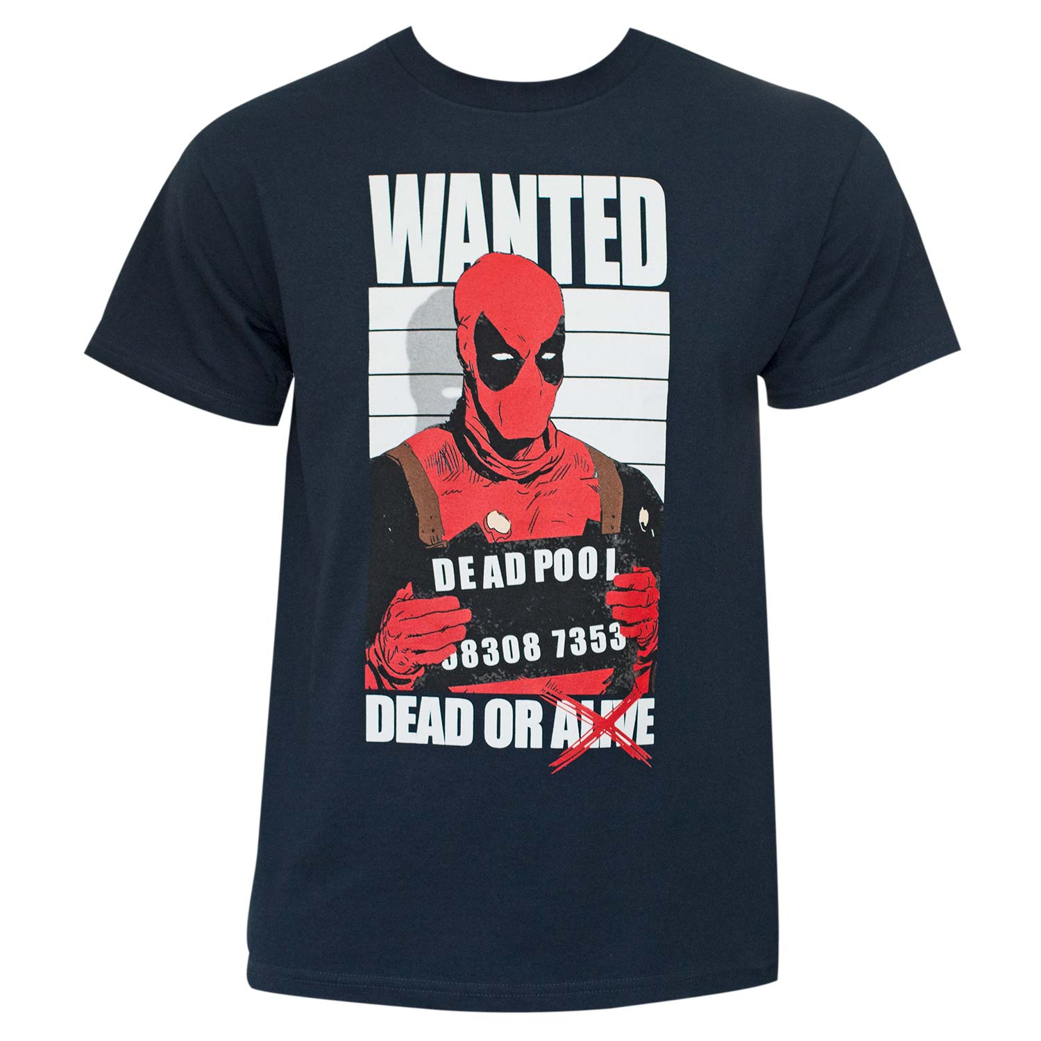 Deadpool Dead And Wanted Navy T-Shirt