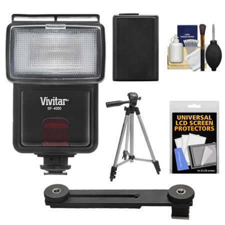Vivitar SF-4000 Auto Bounce Zoom Slave Flash with Bracket + NP-FW50 Battery + Tripod + Cleaning Kit for Sony Alpha A7, A7R, A3000, A5000, A6000, NEX-3N, 5T, 6, 7 Digital Cameras