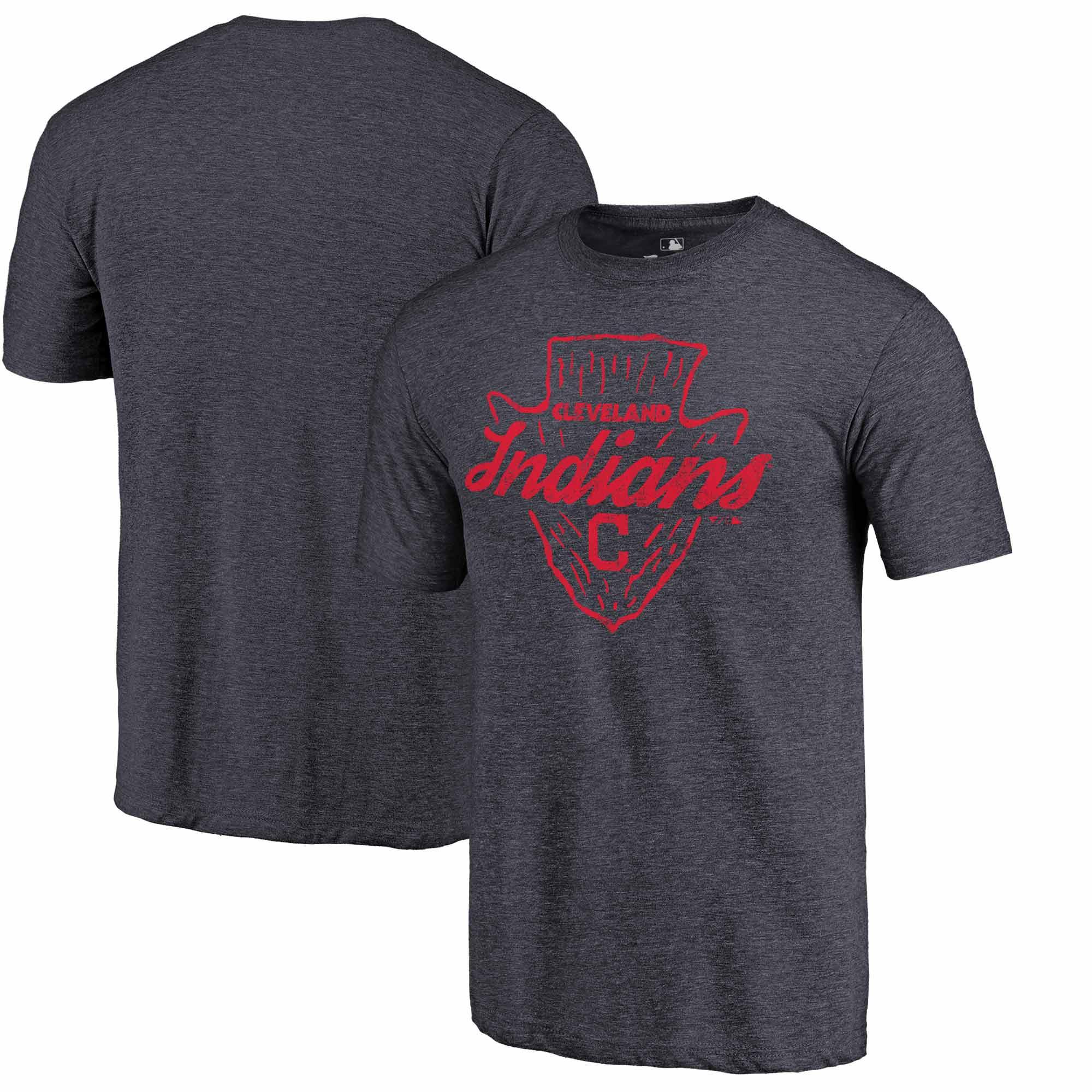 Cleveland Indians Fanatics Branded Hometown Tri-Blend T-Shirt - Navy