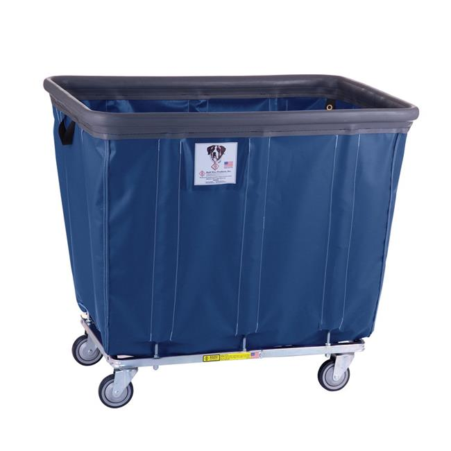 R&B Wire Products 424SOB2 Plus 2-NVY 20 Bushel Vinyl Bumper Truck, 2 Rigid 2 Swivel Casters, Navy