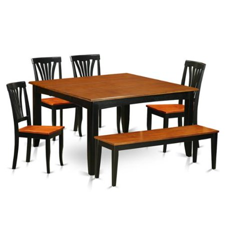 wooden 6 piece dining room set with bench wood seat