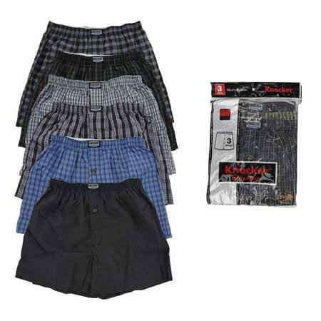 3 Mens Knocker Boxer Trunk Plaid Shorts Underwear Lot Cotton Briefs ALL SIZES
