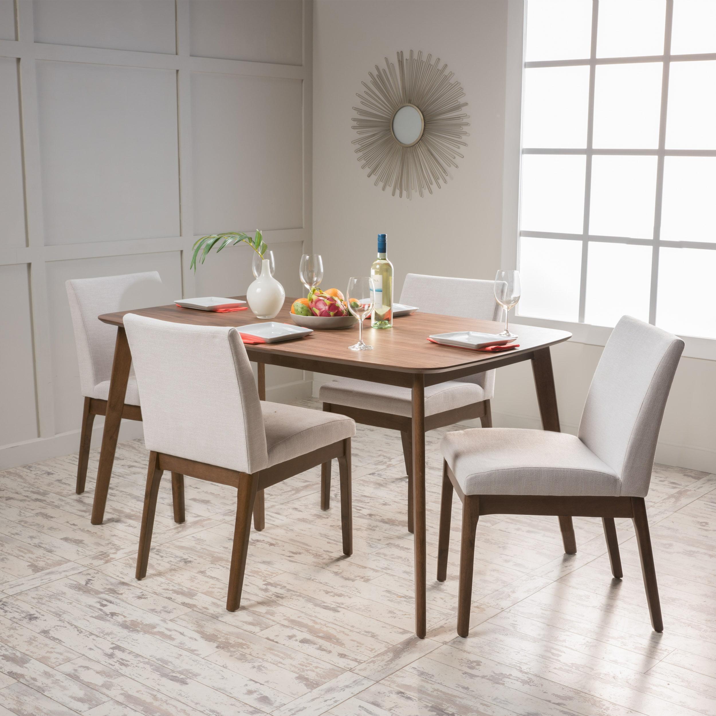 Noble House Caruso 5 Piece Mid-Century Modern Dining Set, Walnut/Light Beige