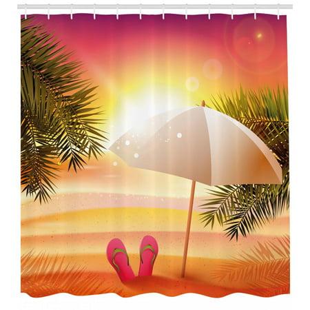 Orange Shower Curtain Sunset At The Beach With Flip Flops Umbrella And Palm Trees Illustration Fabric Bathroom Set Hooks Yellow