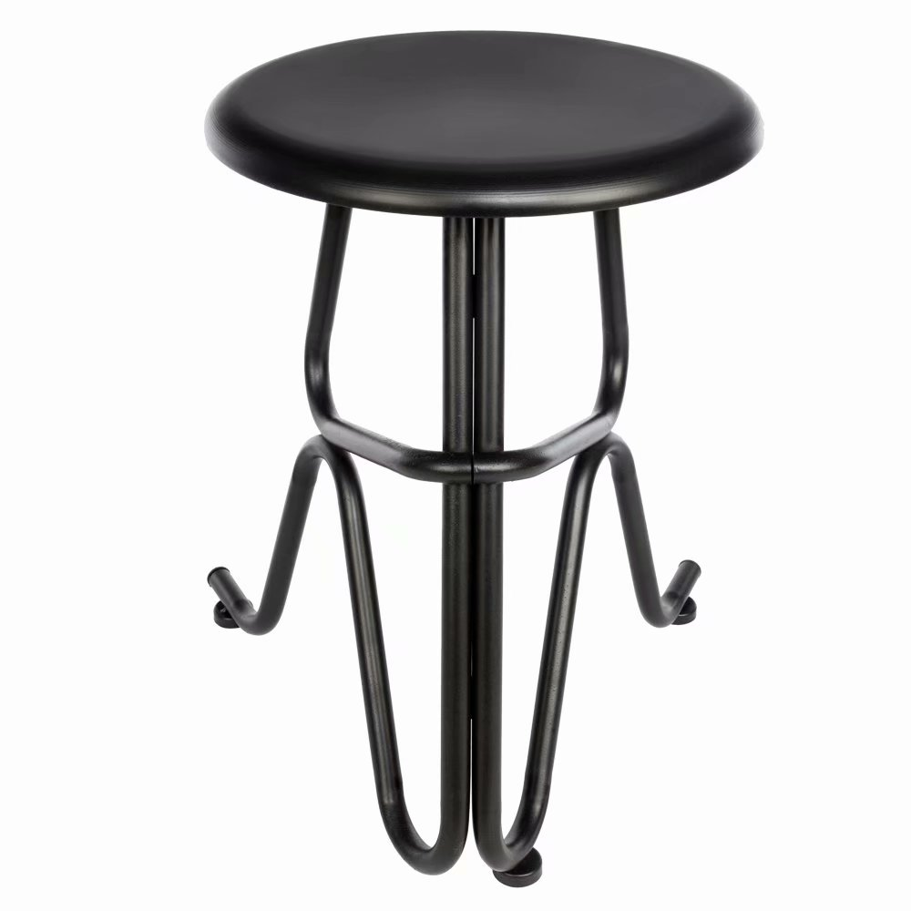 Creative Human Shaped Non-foldable Round Iron Stool Black