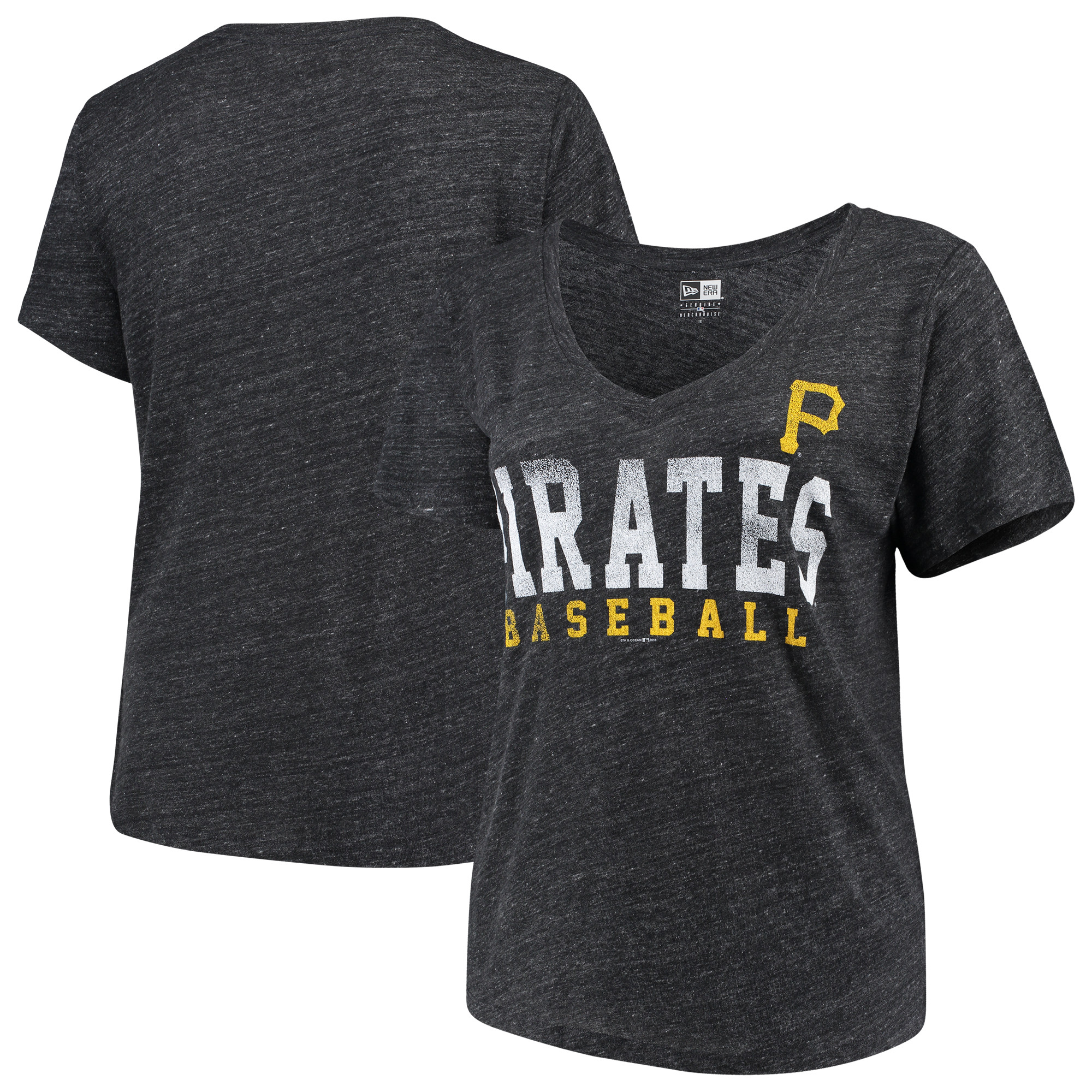 Pittsburgh Pirates 5th & Ocean by New Era Women's Plus Size Tri-Blend Jersey V-Neck T-Shirt - Black