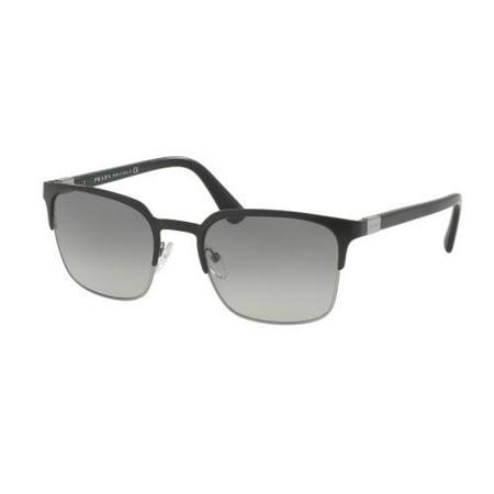 PRADA Sunglasses PR61SS 1BO3M1 Matte Black/Gunmetal (Prada Square Sunglasses)